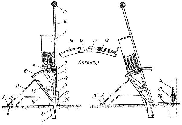 Схема ручной кукурузосажалки'
