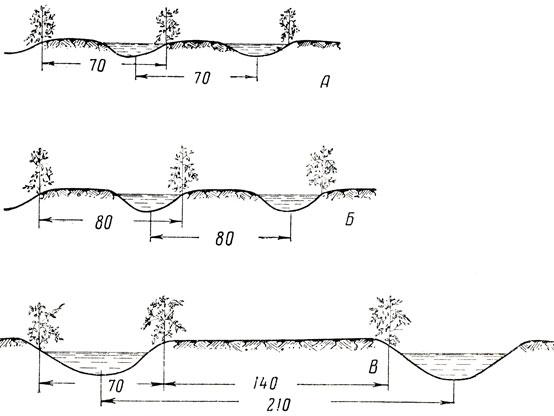 Схемы нарезки поливных борозд