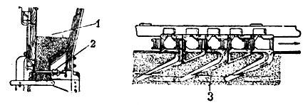 Рис. 8. Цепной туковысевающий аппарат: 1 - ящик для тука; 2 - положение высевающей цепи в яшике; 3 - работа отростка цепи