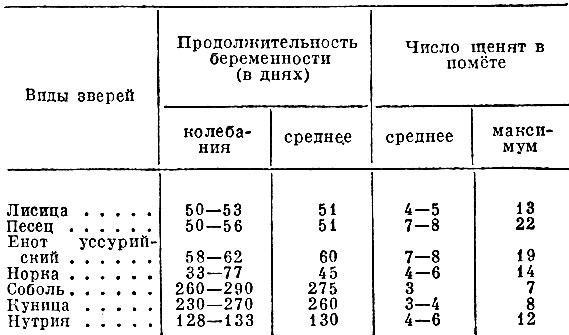 Табл. 1. Продолжительность беременности и размер помёта