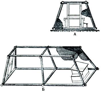 Рис. 1. Клетка на земляном полу для лисиц и песцов. Верх клетки может быть сделан целиком из сетки или верх - из деревянных реек, а низ - из сетки: А - вид клетки с торцовой стороны; Б - вид сбоку