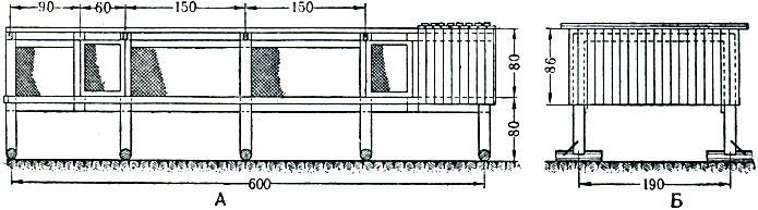 Рис. 2. Клетка на сетчатом полу для самок лисиц и песцов. Часть клетки обшита досками для защиты зверей от дождя и солнца: А - вид с торцовой стороны; Б - вид сбоку