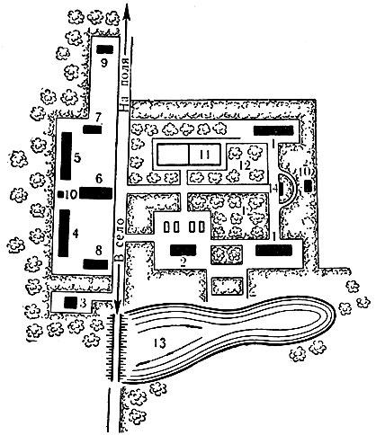 Схема планировки полевого стана: 1 - общежитие; 2 - столовая и красный уголок; 3 - баня-душевая; 4 - конюшня; 5 - воловня; 6 - навес для сельскохозяйственного инвентаря и транспортных средств; 7 - склад минеральных удобрений и химикатов; 8 - фуражный и продовольственный склад; 9 - ремонтная мастерская; 10 - уборная; 11 - спортивная площадка; 12 - фруктовый сад; 13 - пруд; 14 - доска показателей